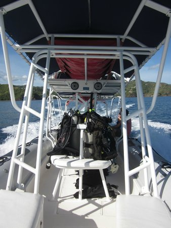 Rocket Frog Divers: The dive boat from fore