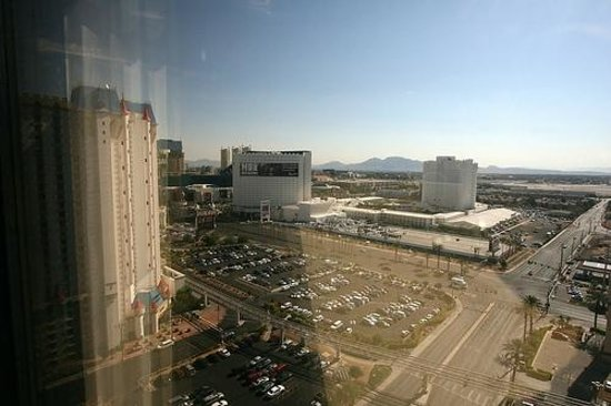 Luxor Hotel & Casino: View from my East Tower room, encompassing Excalibur, MGM, Tropicana hotels
