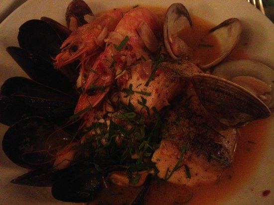 Neptune Oyster: North End Cioppino - Spicy stew of mixed grilled fish and shellfish, safron rice