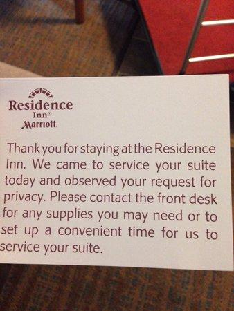 Residence Inn Atlanta Norcross/Peachtree Corners: Card left on our door