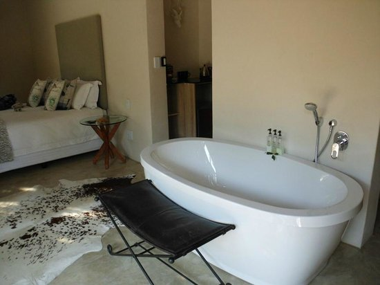 Moditlo River Lodge: Room with shower, bath and ample cupboards