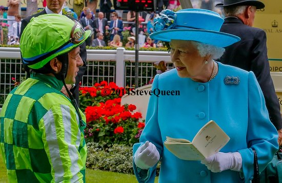 Ascot Racecourse: Victor Espinoza,winning jockey of 2014 Ky Derby and Preakness, meets the Queen