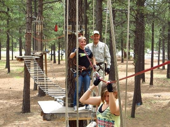 grandpa and the girls loving Flagstaff Extreme