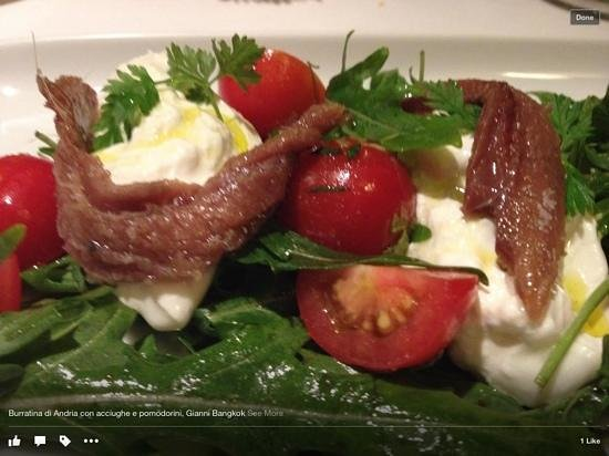 Gianni Ristorante : burratina di andria with anchovies and tomatoes
