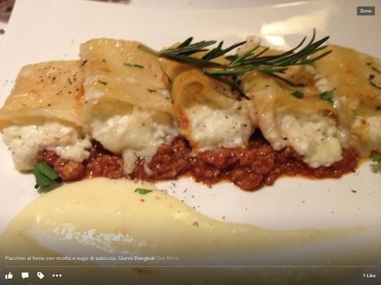 Gianni Ristorante : paccheri al forno ricotta e salsiccia