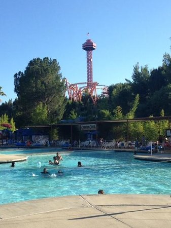Six Flags Hurricane Harbor : pool area with a built in volleyball court and coasters in the background!