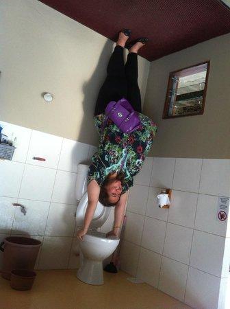Rumah Terbalik: Upside down bathroom