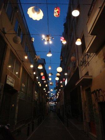 Monastiraki: Pretty street with lamps.