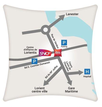 Plan Hôtel Ibis Lorient Centre Gare