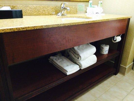 Holiday Inn Express Dayton-Huber Heights: Bathroom counter / Towels