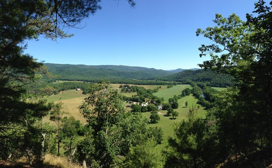 View of the Fort Lewis Lodge from the Hickory Loop hiking trail