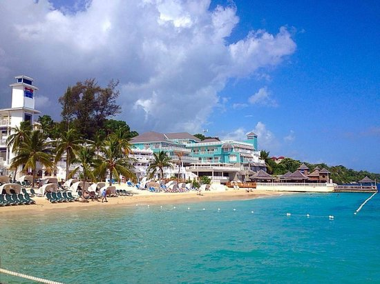 Beaches Ocho Rios Resort & Golf Club : View of the resort from the Glass Bottom Boat Ride