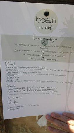 Boem : Exemple de menu du midi