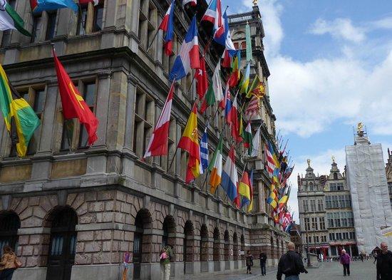 Town Hall (Stadhuis): Flag Bedecked Antwerp City Hall