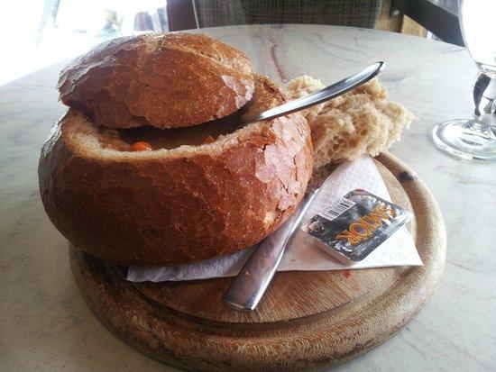 Svarta Kaffid : South-american meat soup in bread. Yummie!!!