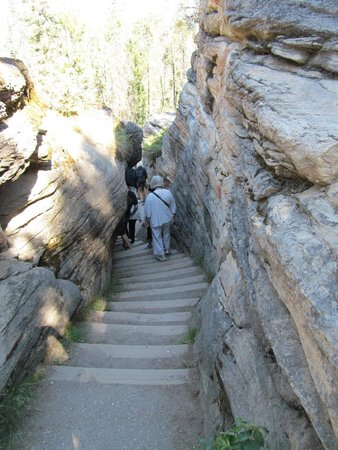 Athabasca Falls : Steps carved into the rocks leading down to the bottom of the falls and the river that continues