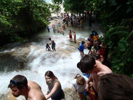 Dunn's River Falls and Park: Mirando para abajo desde la primera parada