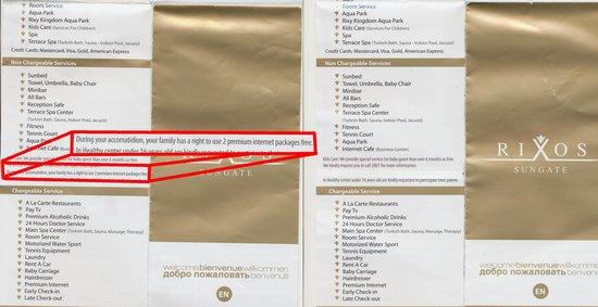Rixos Sungate: internet in hotel brochures