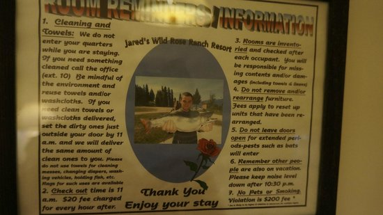 Jared's Wild Rose Resort : A list of RULES for the clients... Enjoy your stay! haha