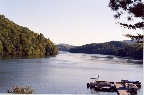 Rumbling Bald Resort on Lake Lure: from lakeview restaurant's patio looking south