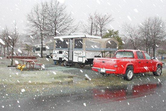 Cherry Hill Park Campground: It snowed!
