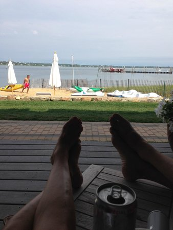 Montauk Yacht Club Resort & Marina: Relaxing on the deck of our room.