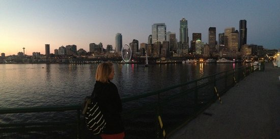 Washington State Ferries: Coming into the terminal at sunset
