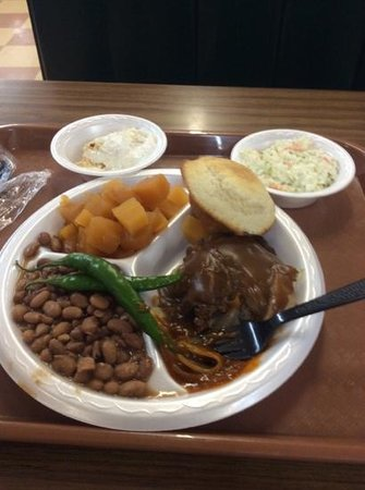 Jimbo's Bar-B-Que: Hamburger steak (and rutabagas) from the lunch buffet