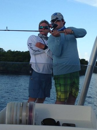 Dream Catcher Charters: Capt Hugh provding casting tips!