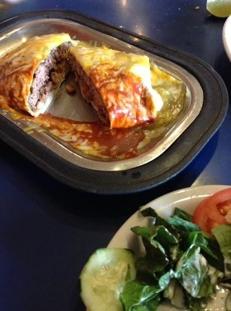 Pantry Restaurant: tortilla burger with red and green chili sauce!