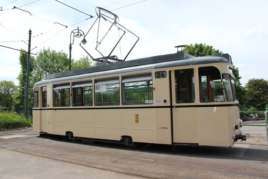 Crich Tramway Village: The converted Berlin tram.