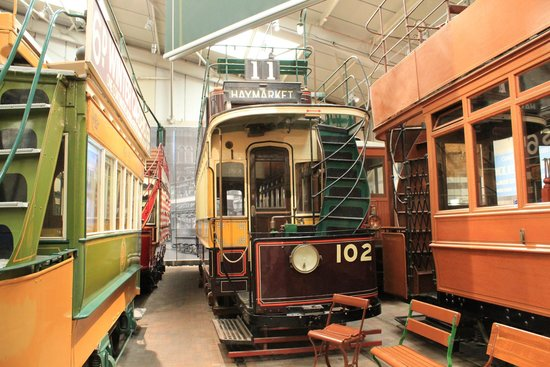 Crich Tramway Village: One of the many trams in the indoors display.