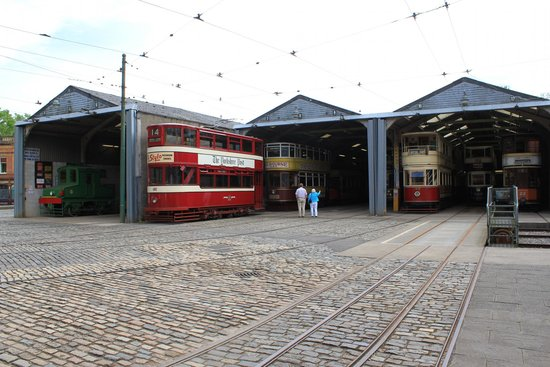 Crich Tramway Village: One of the tram garages that are open to view.