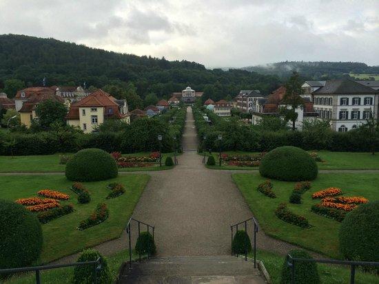 Dorint Resort & Spa Bad Bruckenau: Blick in den Park, Hotel liegt links