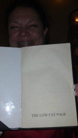 Restaurant Matisse: Low fat page on dessert menu...ha ha