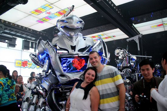 Robot Restaurant: Us and one of the robots!