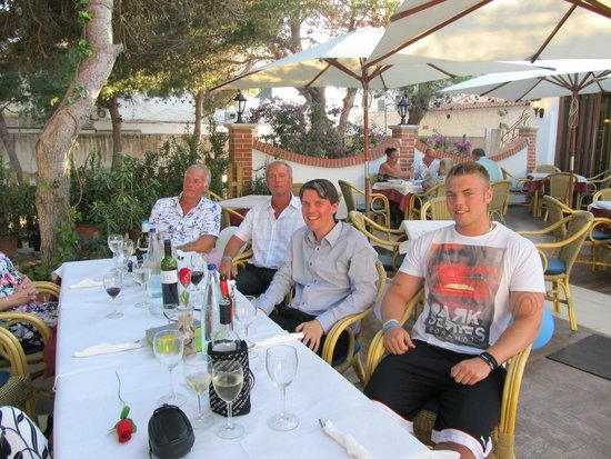 Some of us in the open area of the restaurant - Los Delfines, cala n forcat
