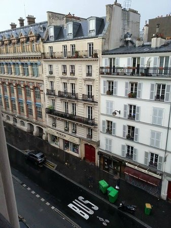 Midnight Hotel Paris: View up the street towards Gare du Nord from 5th floor.
