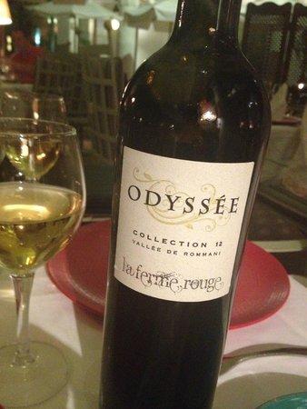 Les Jardins de la Medina: The excellent white wine we started with