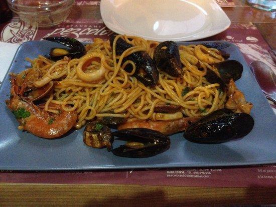 Restaurant Pez Colorao : Spaghetti with seafood Спагетти с морепродуктами