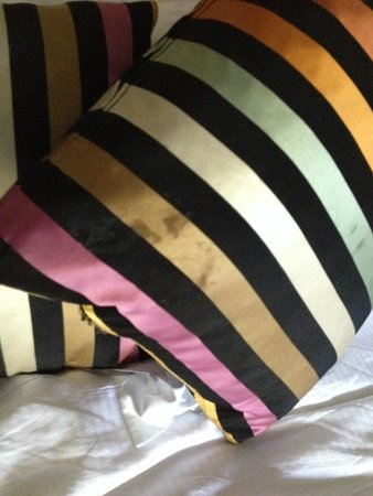 Calcot Manor: Stained pillows