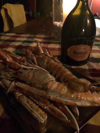 Trattoria Al Faro : Scampi e champagne