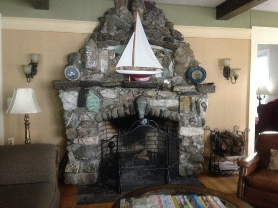 The Lake House at Ferry Point: fireplace made from stone quarry