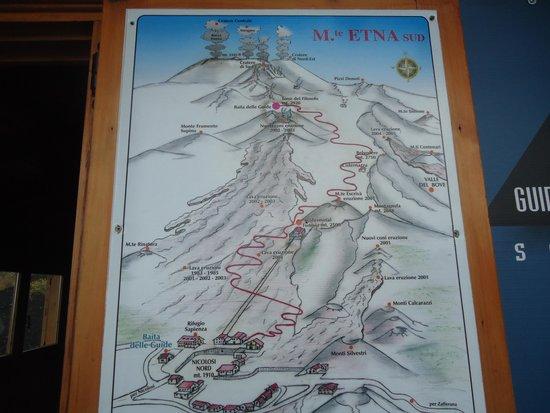 Monte Etna: mapa da escalada ao Etna