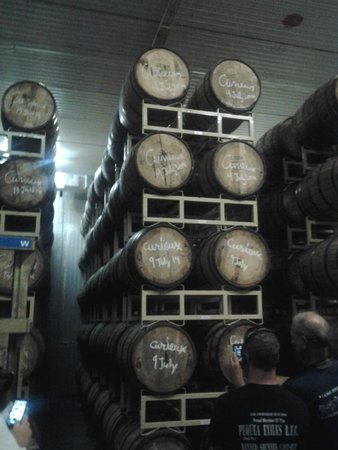 The Maine Brew Bus: Barrels stacked high