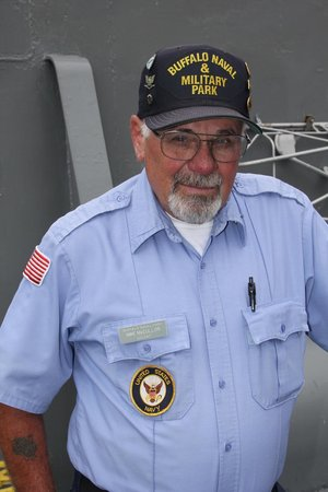 Buffalo & Erie County Naval and Military Park: Vietnam veteran Edwin M Cotter serves as a volunteer docent aboard The Sullivans ship