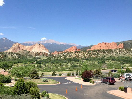 Garden of the Gods from visitors center, Pikes Peak in the background
