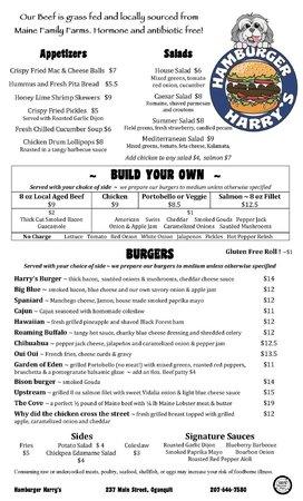 Hamburger Harrys : Food Menu