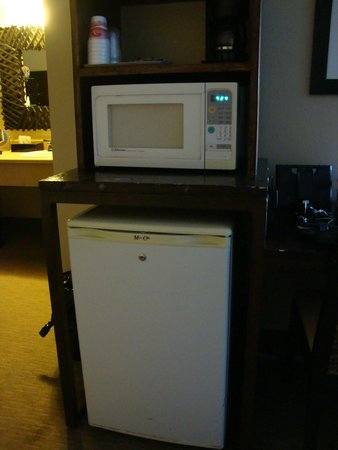 The Nautical Beachfront Resort: Coffee maker, micro wave, & small refrigerator in room