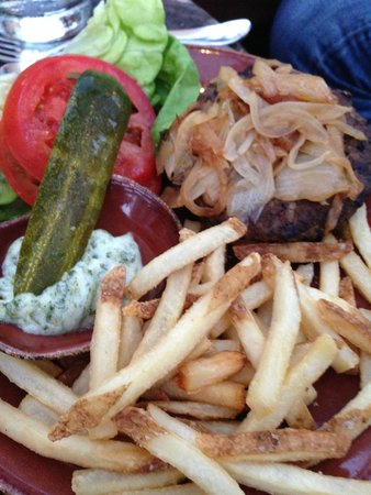 Mustangs & Burros: Mustang Angus Burger (Caramelized Onions, Choice of Cheese, Fries with Cilantro Aioli)
